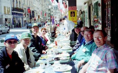 June 1994, Al Tweten and others from the Queen's Own in a Cafe in Caen, France - D-Day +50