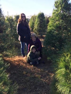 Jean cutting down Christmas Tree with Jody (daughter) and Dominick (great grandson) 2016